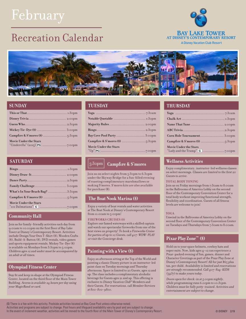 Disney World Resort Recreation Calendar February 2019 Resort Services – Disney Talk Blog